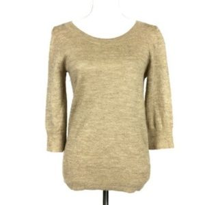 J. Crew Small Sweater Pullover Gold Metallic Bow